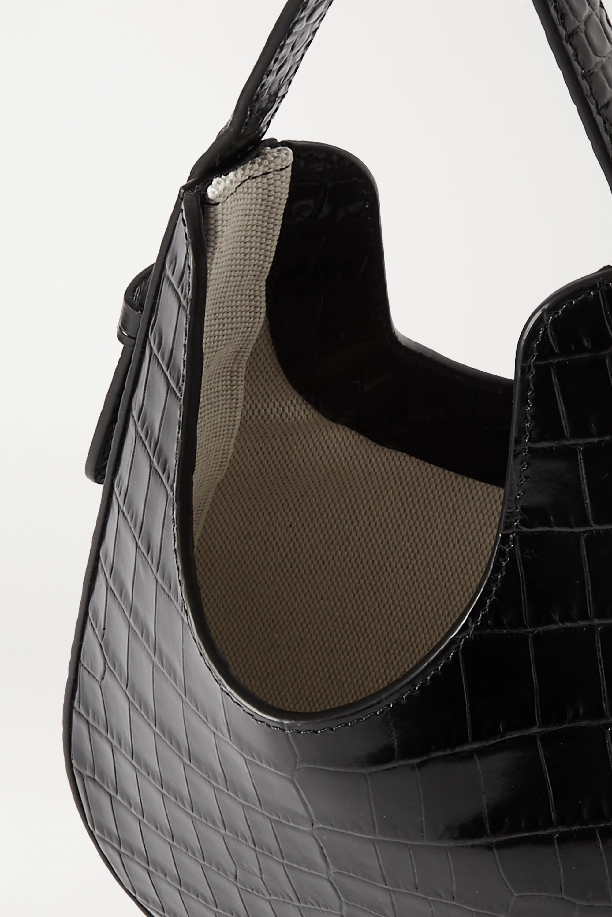 S.Joon Teardrop glossed croc-effect leather tote