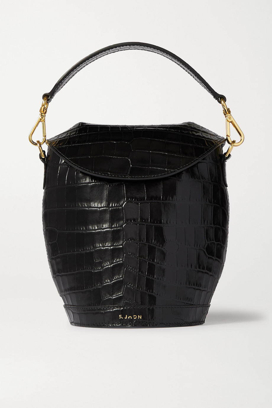 S.Joon Milk Pail croc-effect leather tote