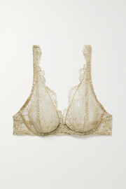 Embroidered tulle underwired soft-cup bra