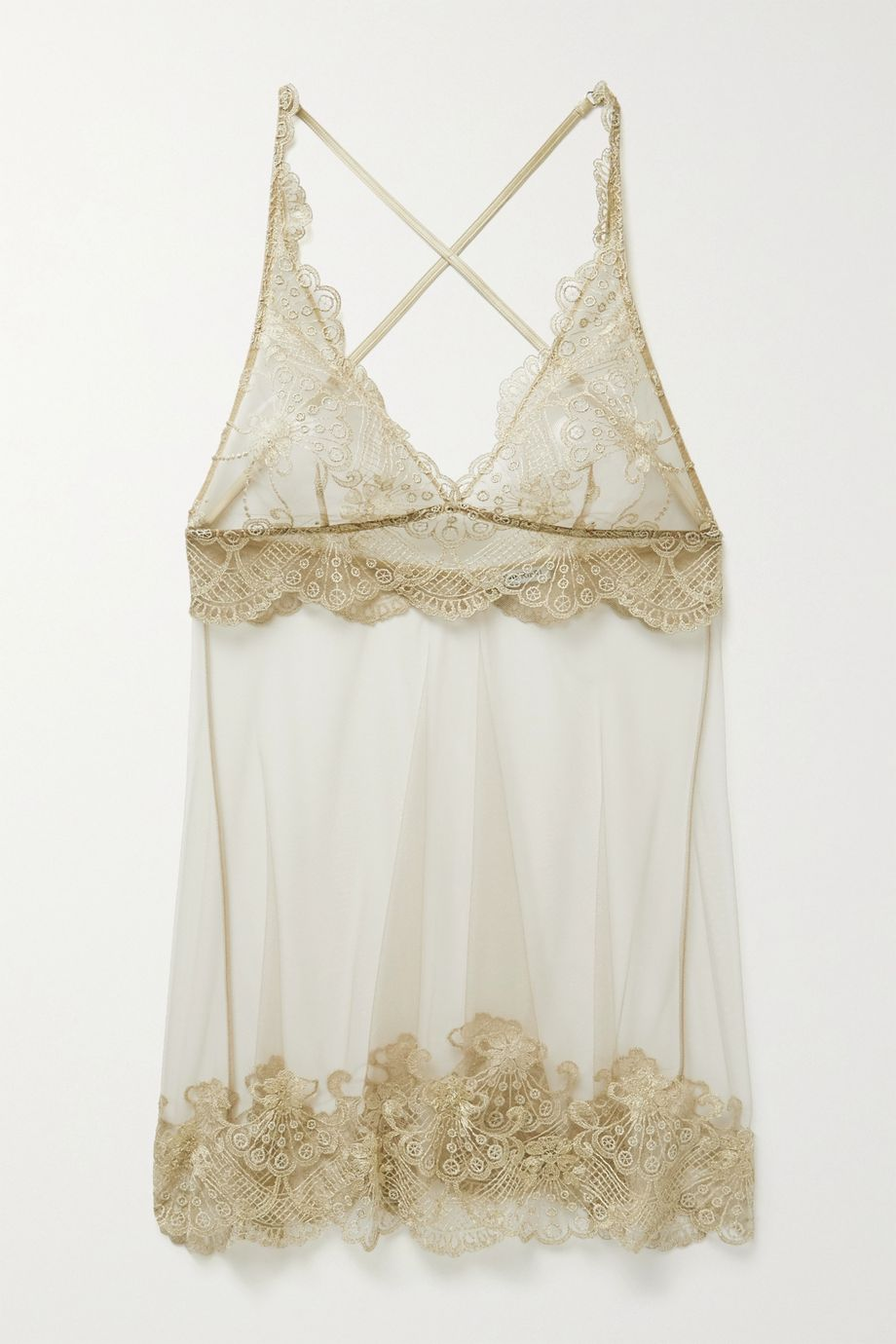 I.D. Sarrieri Satin-trimmed embroidered tulle chemise