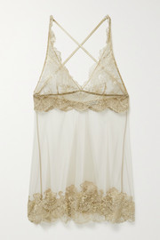 Satin-trimmed embroidered tulle chemise