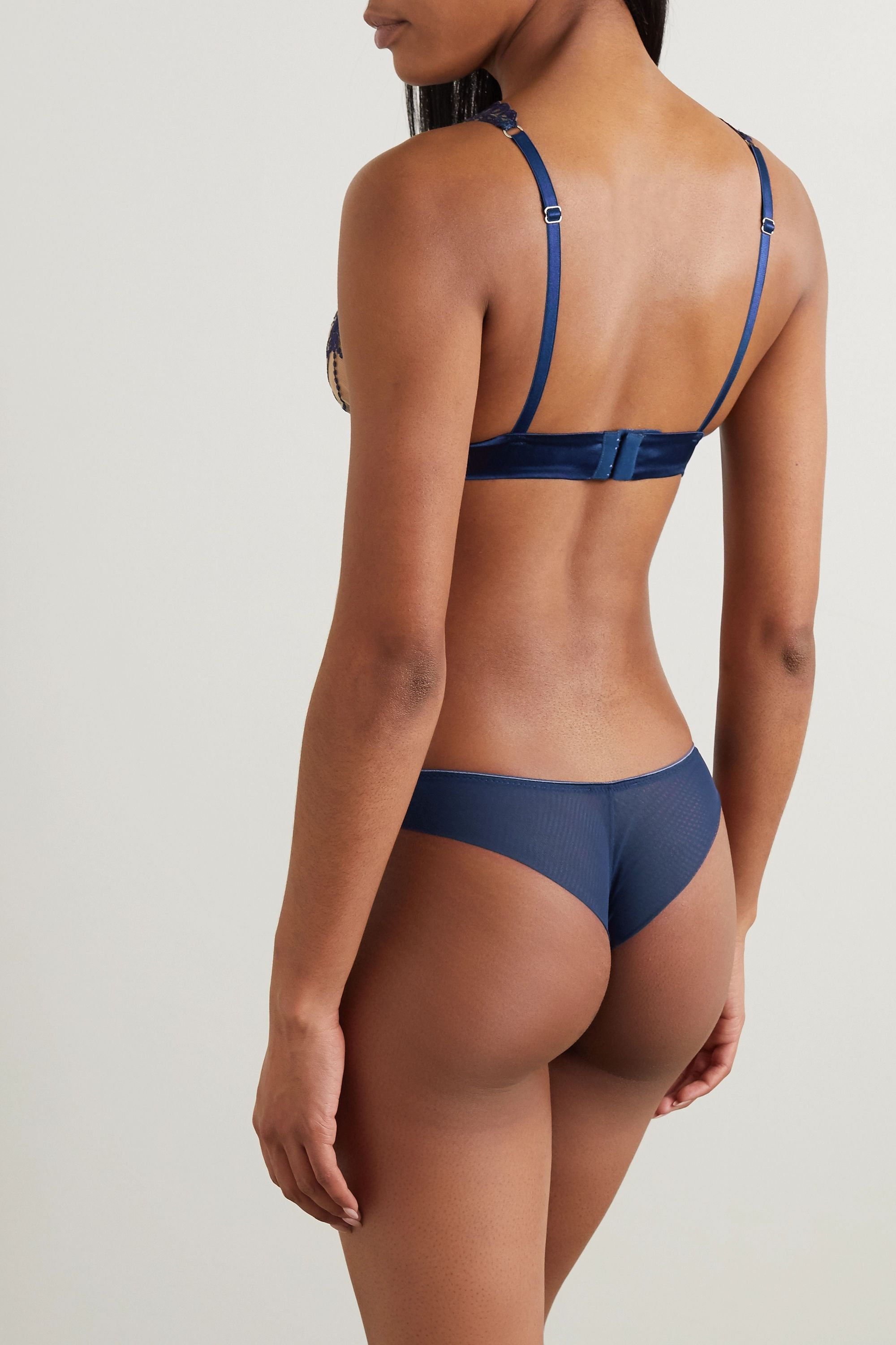 I.D. Sarrieri Moonlight embroidered tulle and satin thong