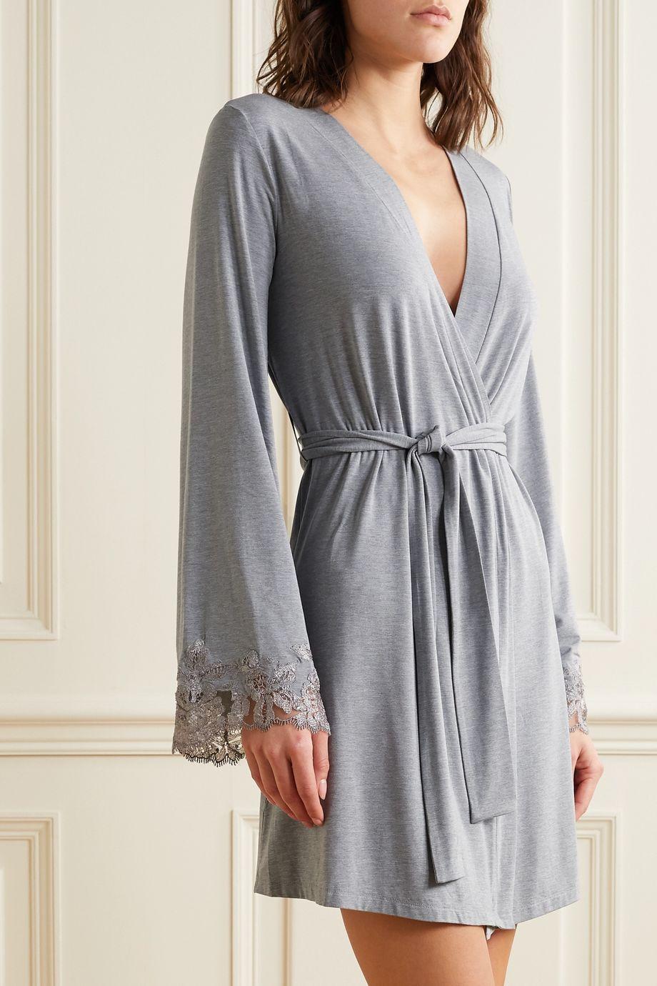 I.D. Sarrieri Lace-trimmed modal-blend robe