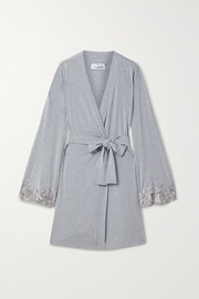 Lace-trimmed modal-blend robe