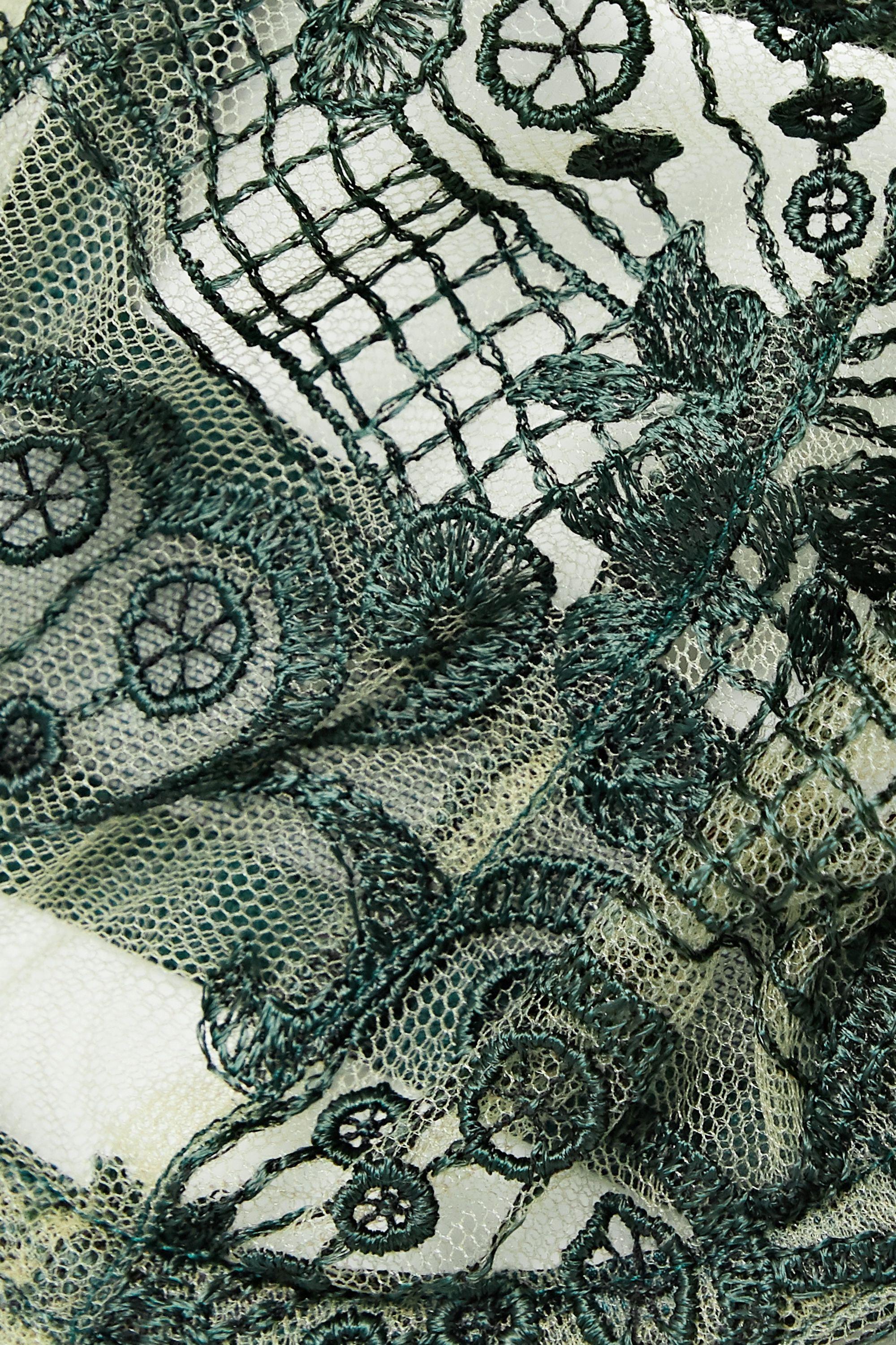 I.D. Sarrieri Midnight Dream embroidered tulle underwired balconette bra