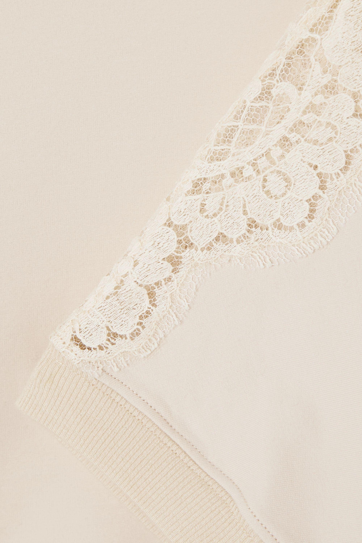 I.D. Sarrieri Lace-paneled cotton-blend jersey top