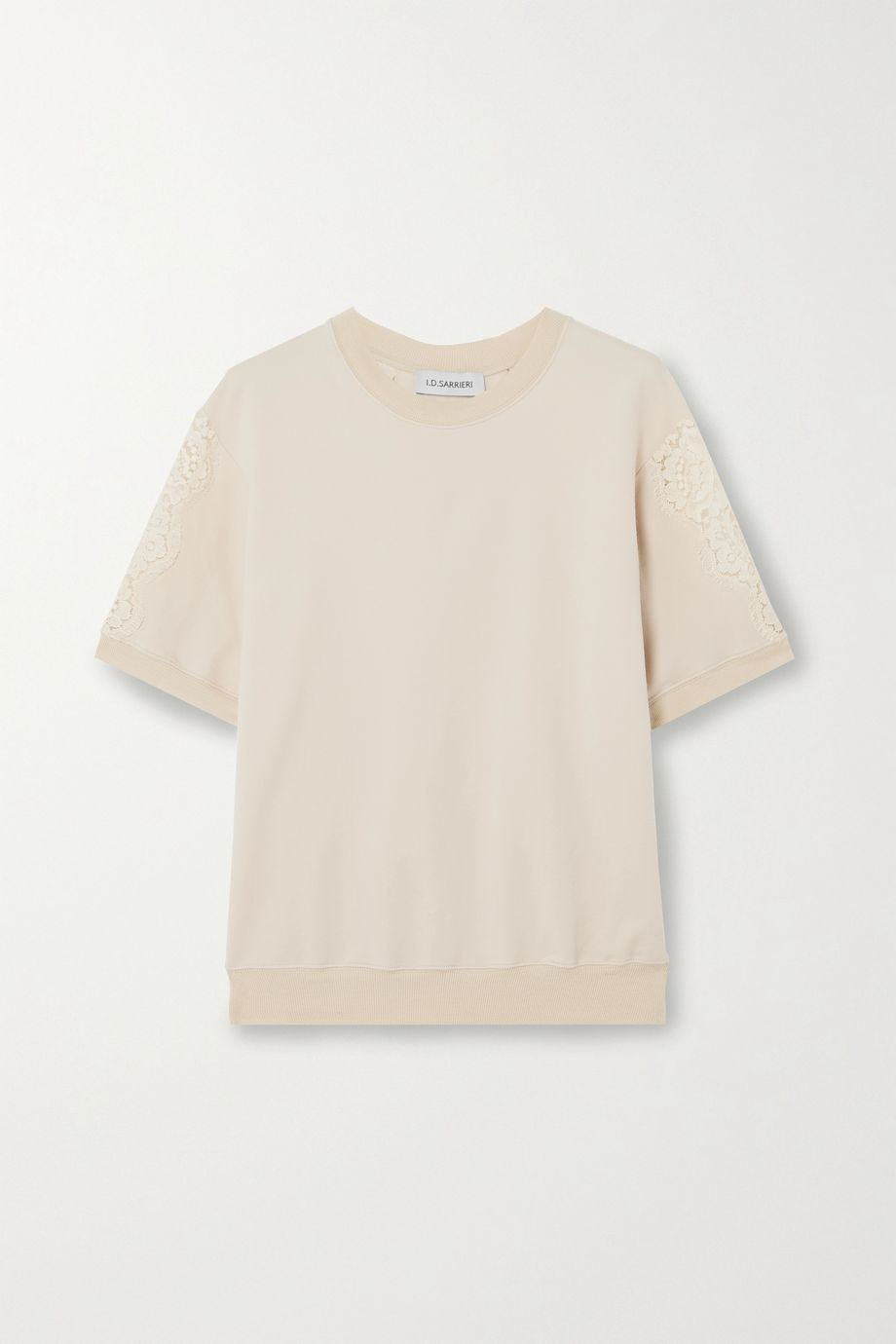 I.D. Sarrieri Lace-paneled cotton-blend jersey top