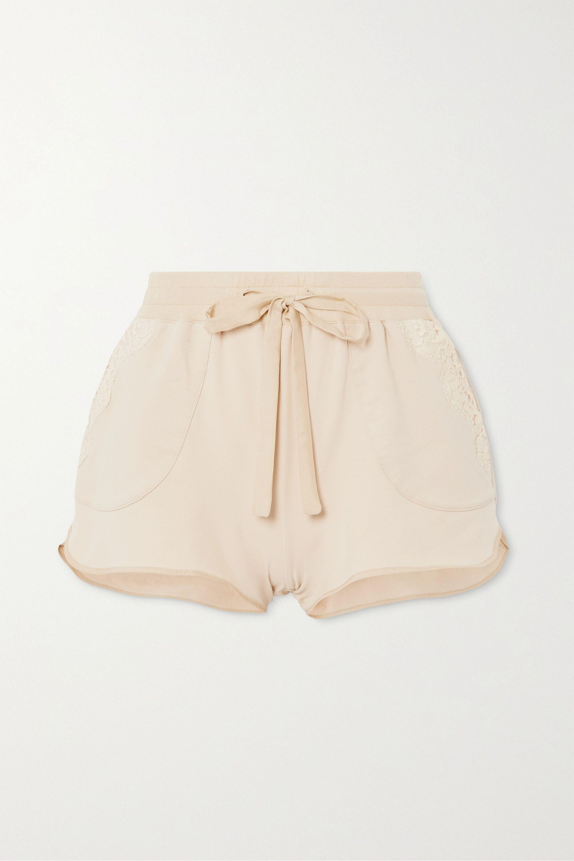 I.D. Sarrieri Lace-trimmed cotton-blend jersey shorts