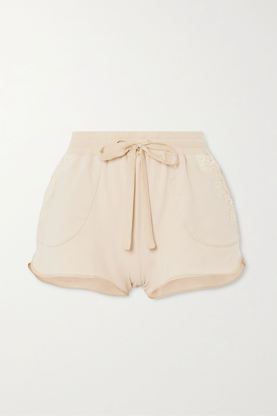 I.D. Sarrieri Lace-trimmed cotton-blend jersey shorts