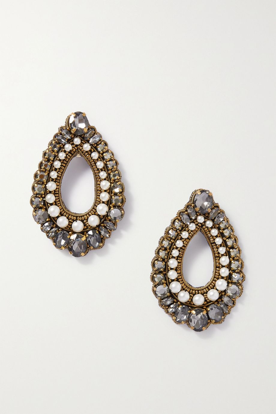 Etro Gold-tone, felt, crystal and faux pearl clip earrings