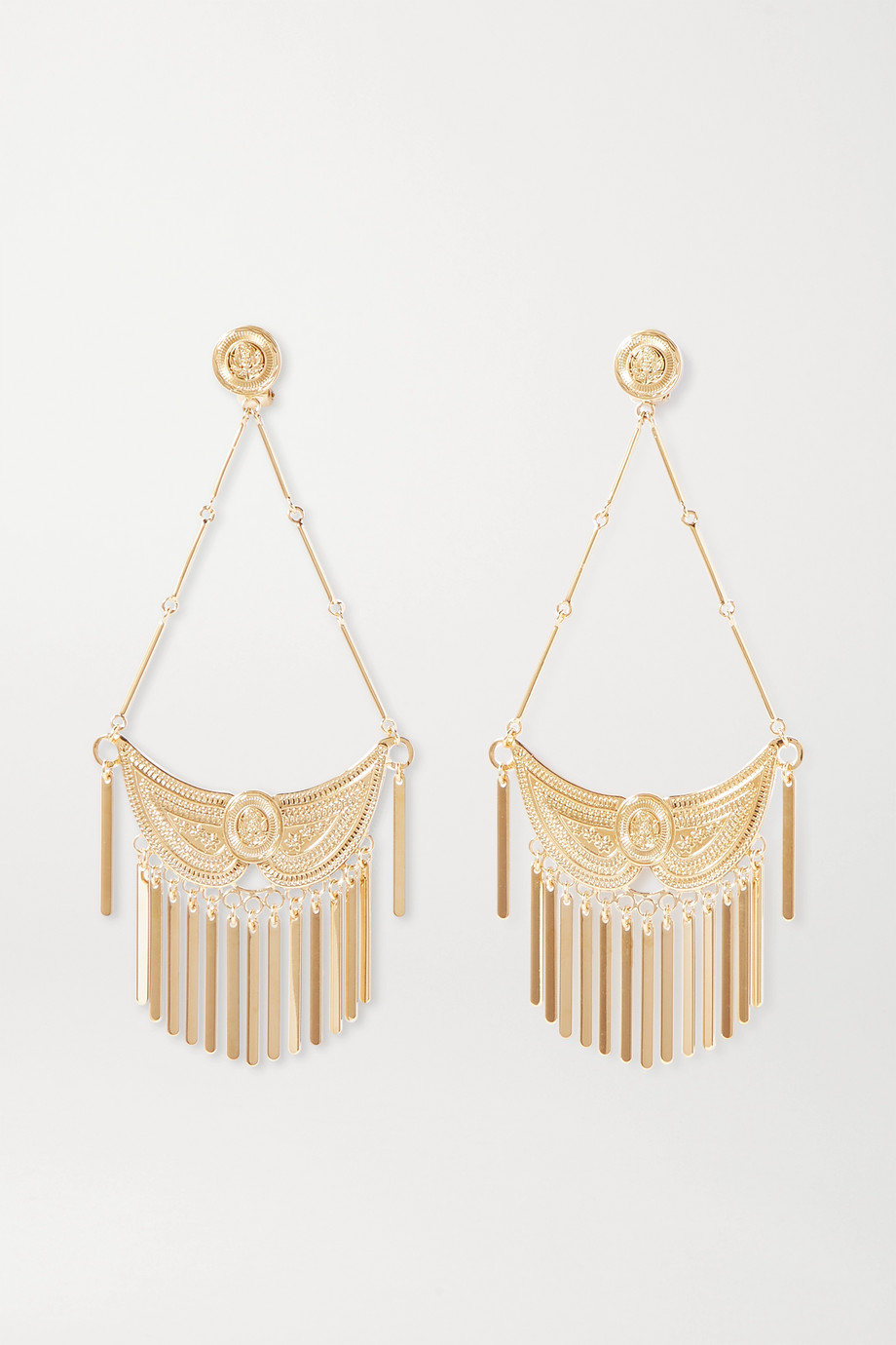 Etro Tasseled gold-tone clip earrings