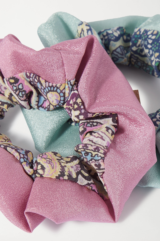 Etro Set of two paisley-print silk hair ties