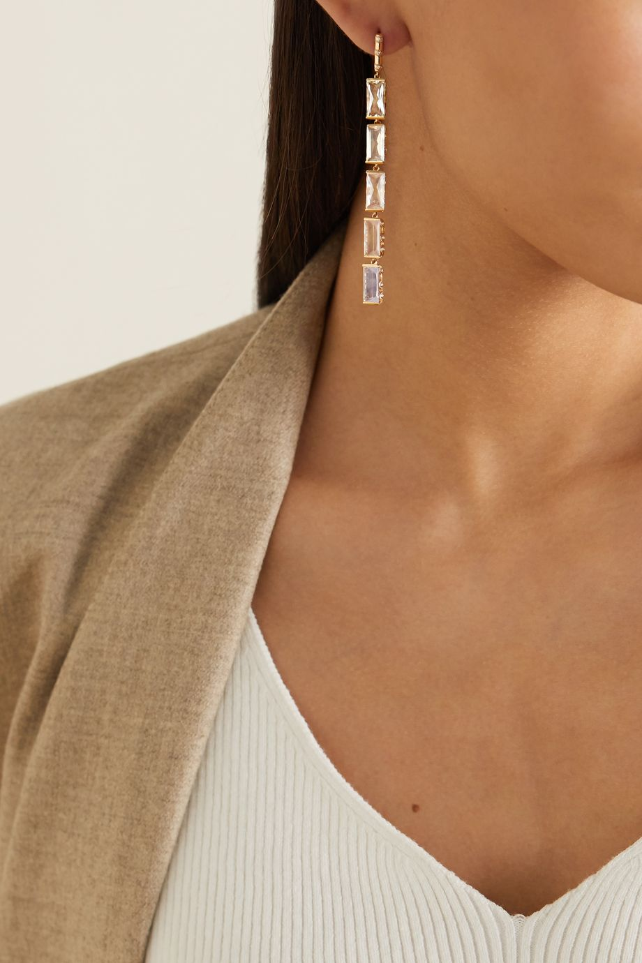 Alice Cicolini Memphis Bubble Baguette 14-karat gold multi-stone earrings