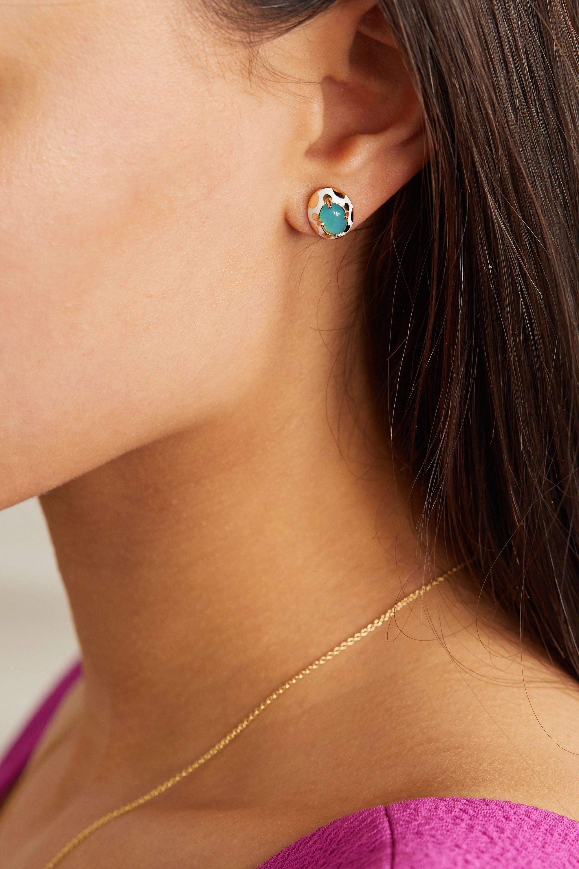 Alice Cicolini Memphis 14-karat gold, enamel and opal earrings