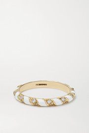 Alice Cicolini Candy 14-karat gold, enamel and diamond ring