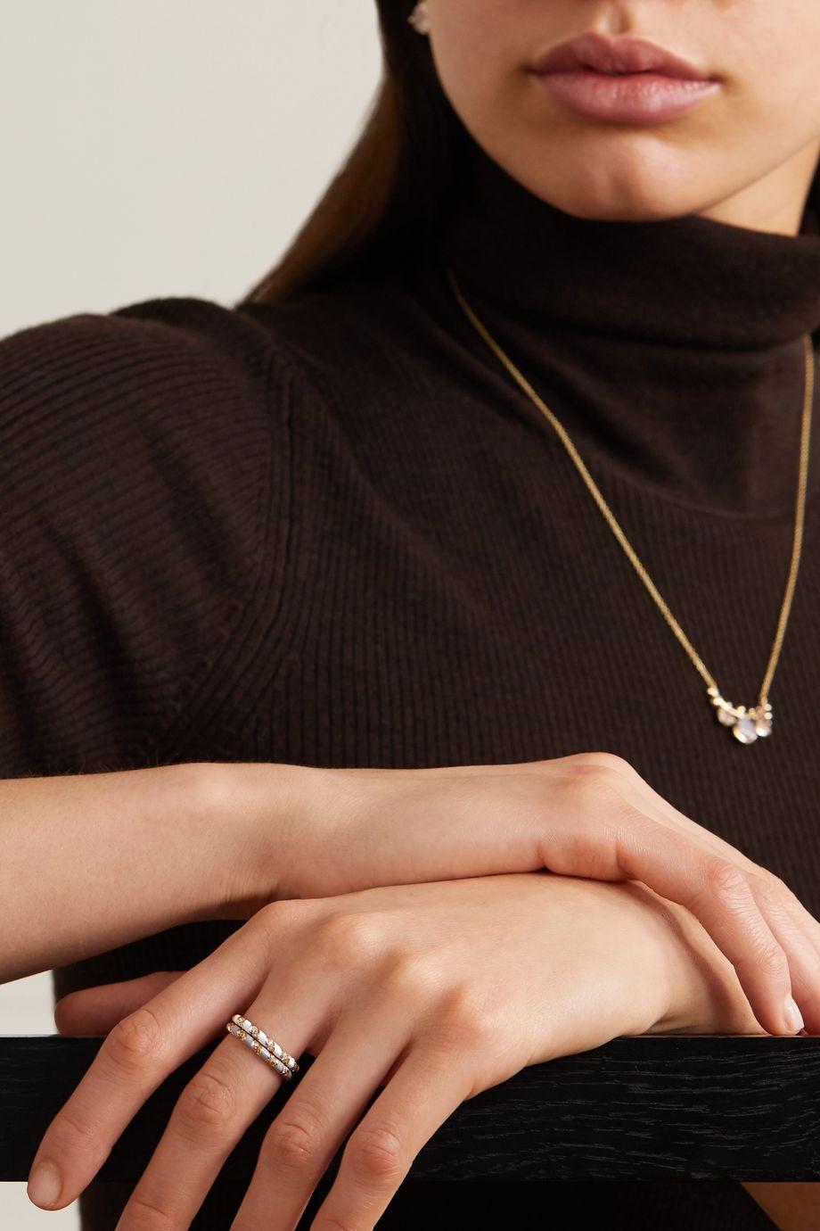 Alice Cicolini 14-karat gold, enamel and diamond ring