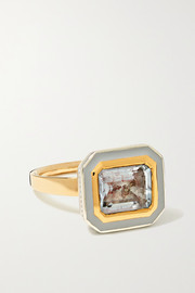 Alice Cicolini 14-karat gold, sterling silver, enamel and aquamarine ring