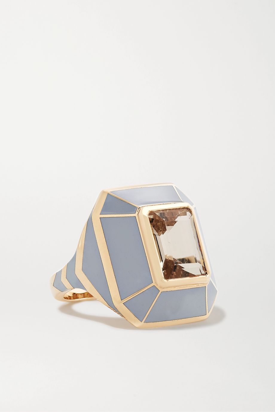 Alice Cicolini Candy 14-karat gold, enamel and morganite ring