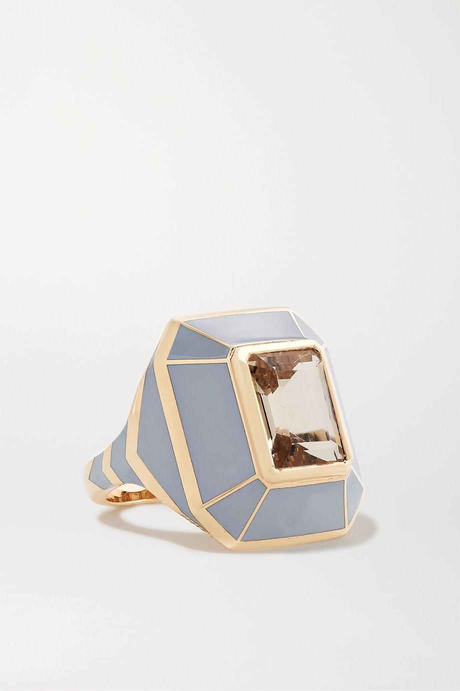 Alice Cicolini Candy 14-karat gold, enamel and morganite ring