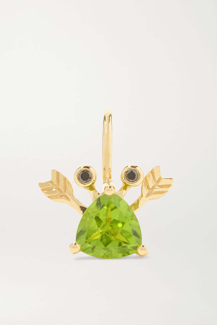 Yvonne Léon 18-karat gold, peridot and blackened diamond earring