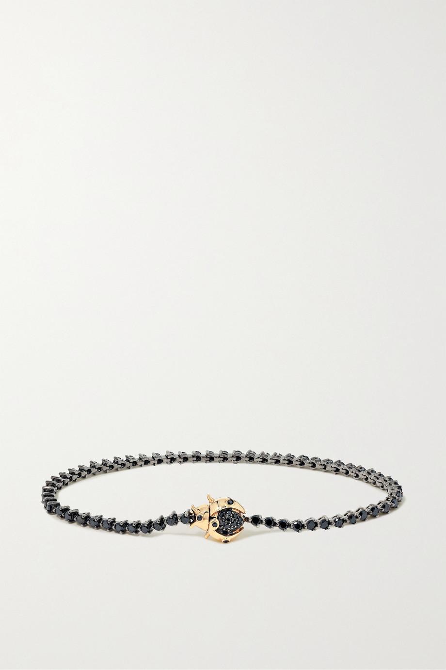 Yvonne Léon 18-karat blackened white and yellow gold diamond bracelet