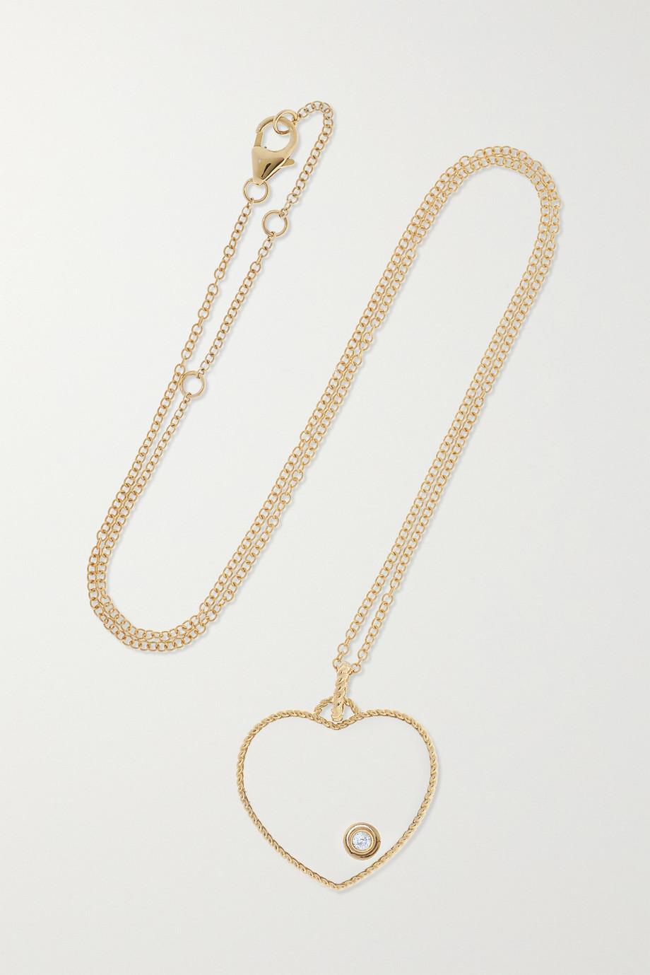 Yvonne Léon 9-karat gold, diamond and glass necklace