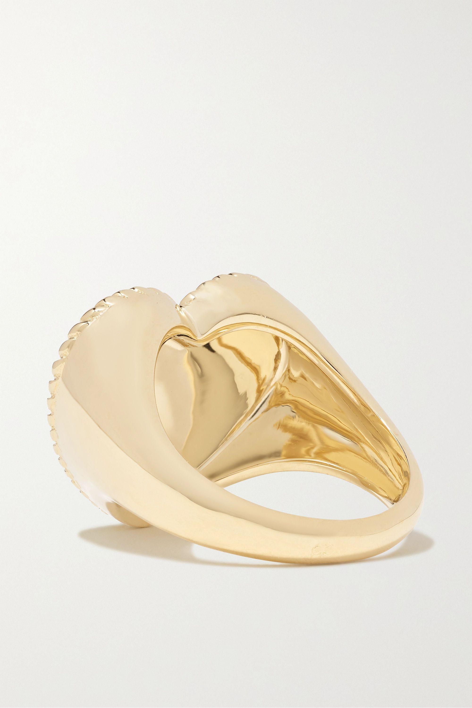 Yvonne Léon Ring aus 9 Karat Gold mit Glas und Diamant
