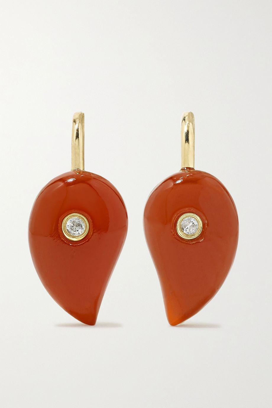 Yvonne Léon 9-karat gold, agate and diamond earrings
