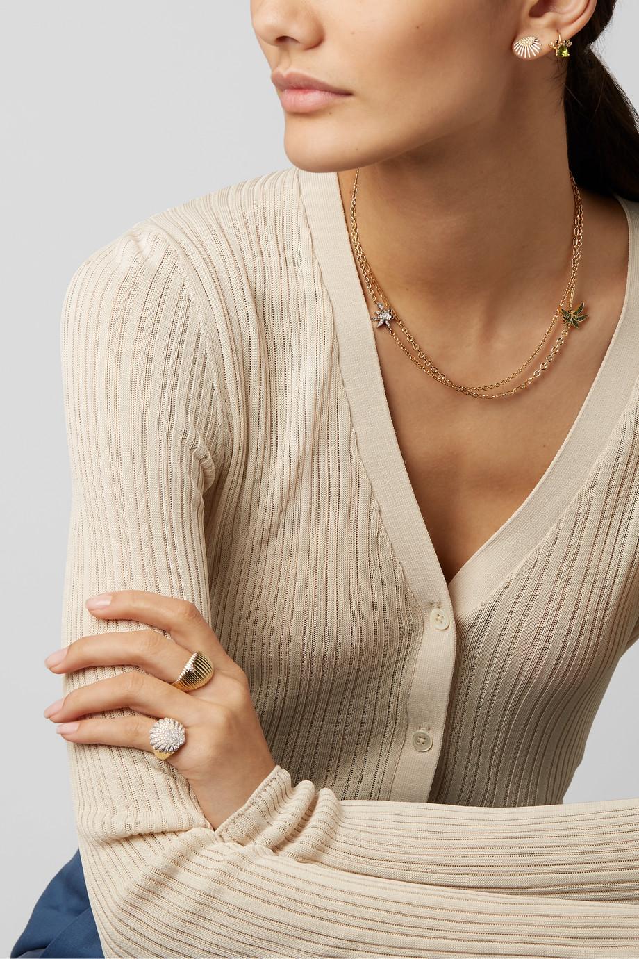 Yvonne Léon Collier en or jaune et blanc 18 carats et diamants