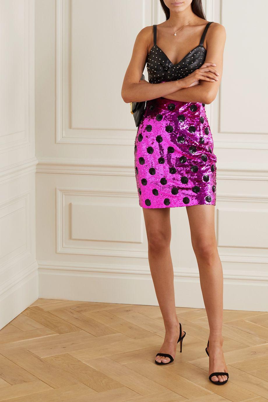 Dundas Embellished sequined polka-dot tulle and leather mini dress