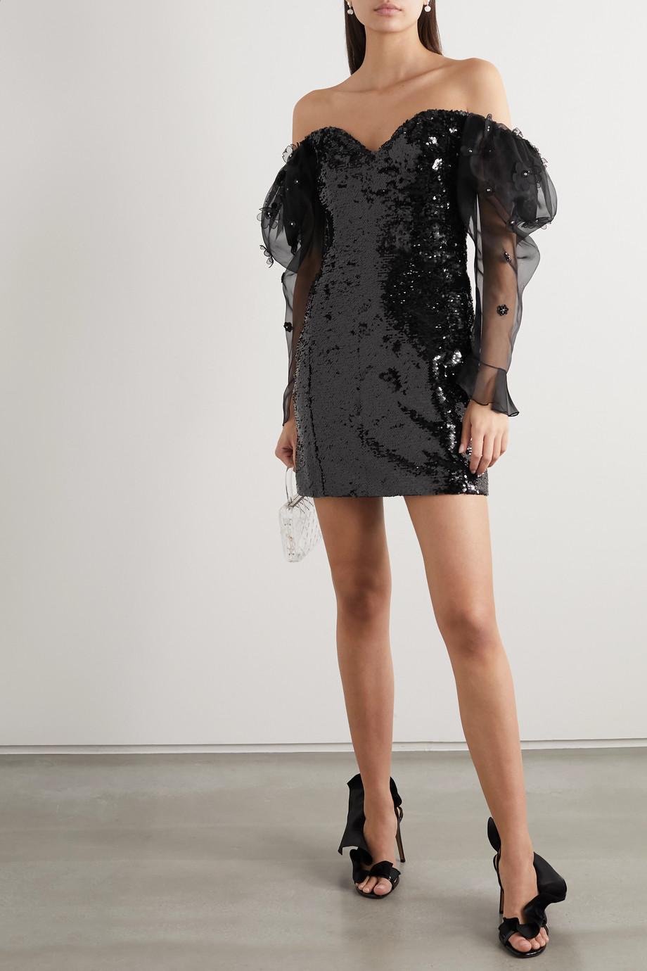 Dundas Off-the-shoulder embellished tulle and silk-organza mini dress