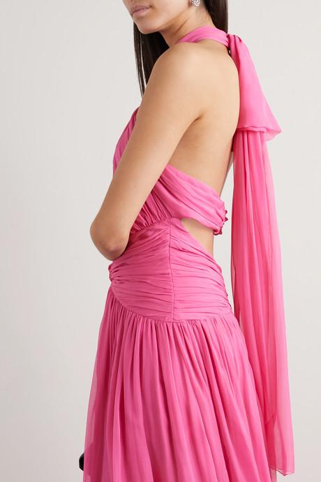 Ruched cutout silk-chiffon halterneck gown