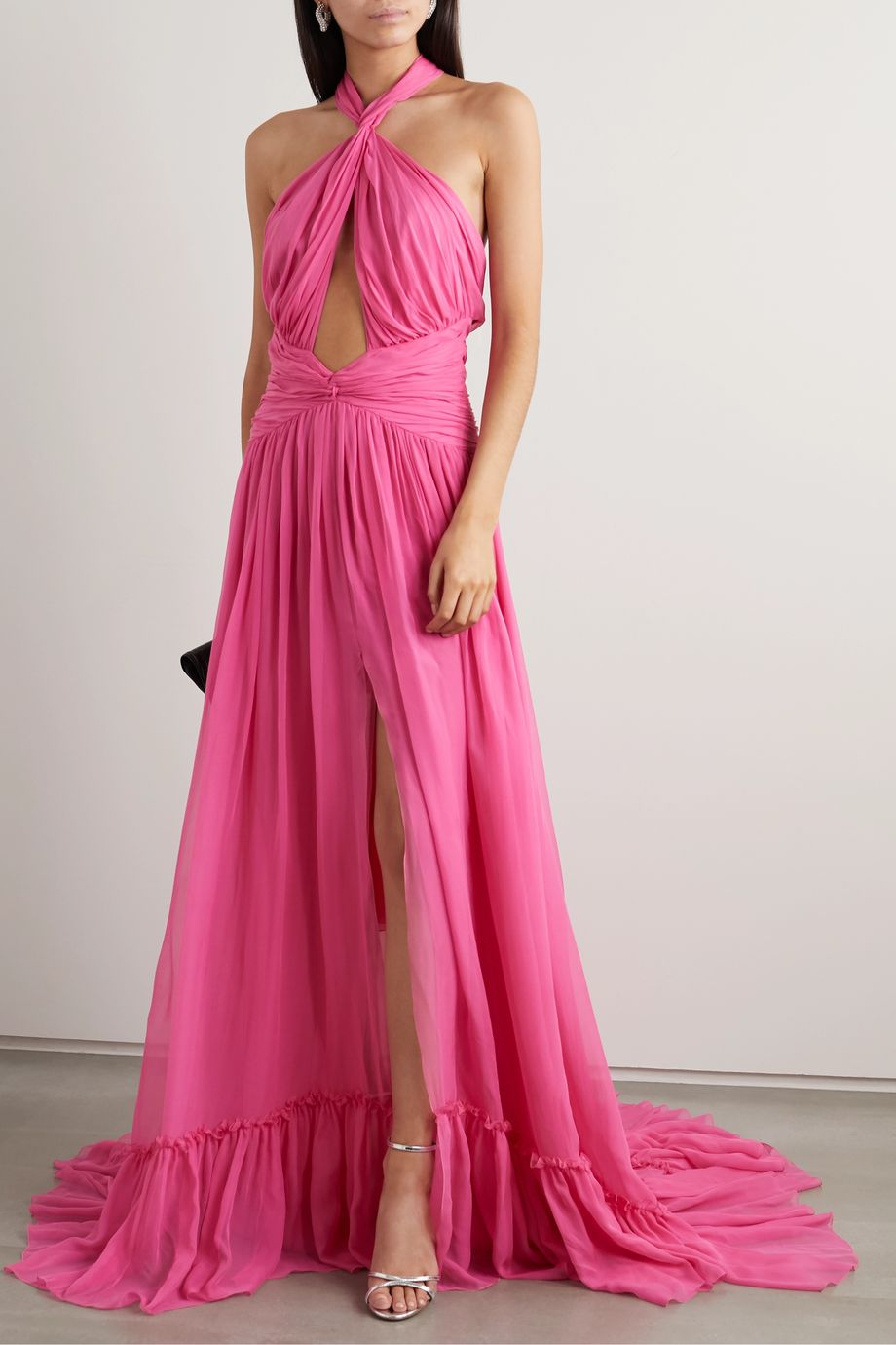Dundas Ruched cutout silk-chiffon halterneck gown