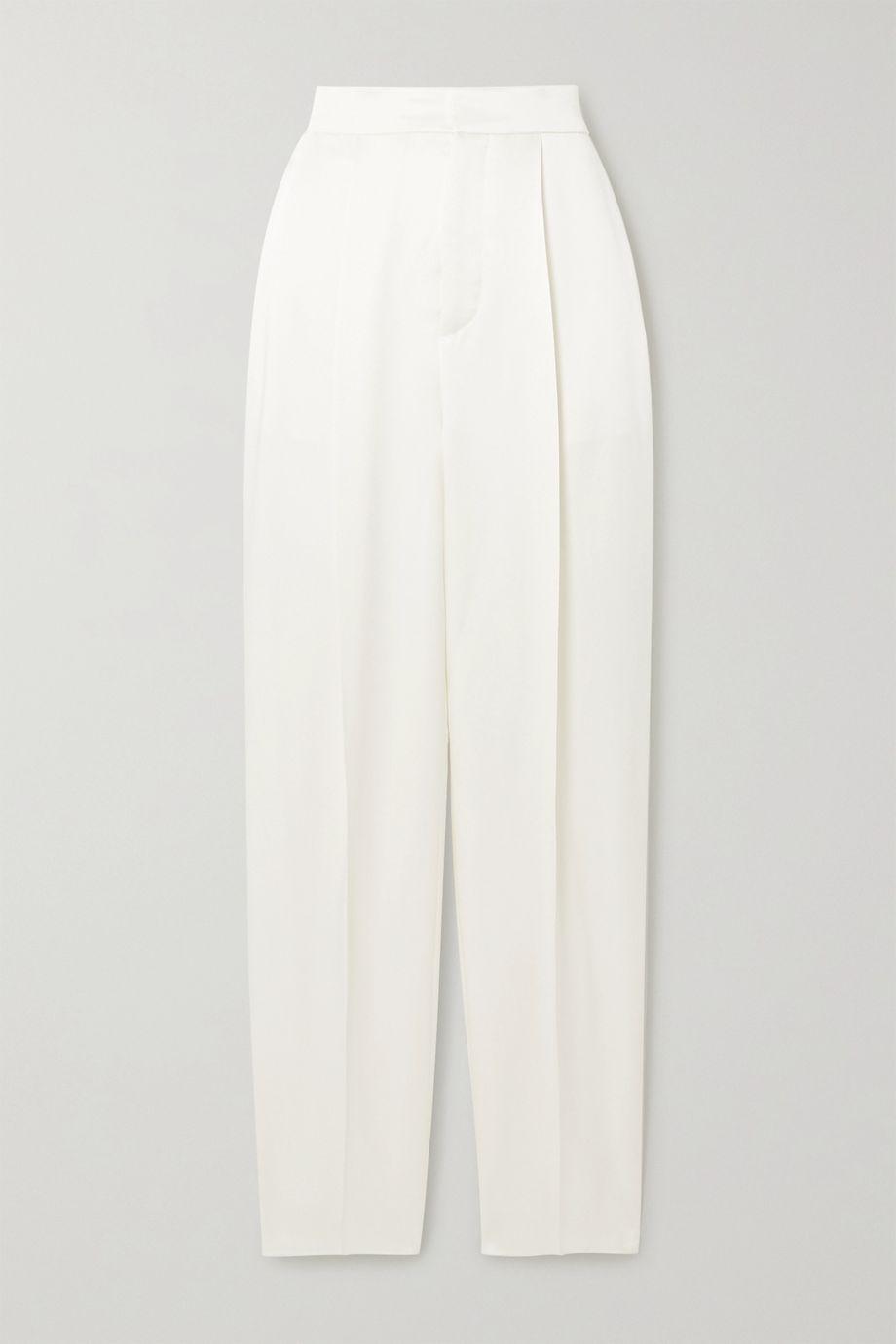Dundas Hammered-satin straight-leg pants