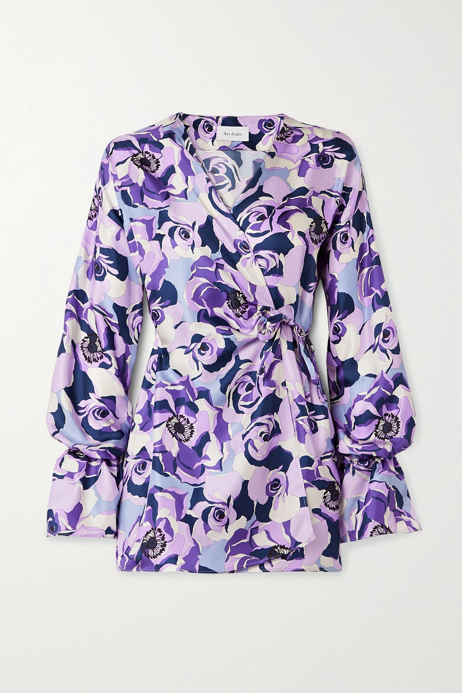 Art Dealer Floral-print silk-satin twill wrap mini dress