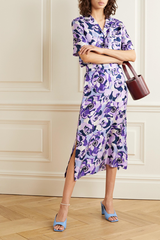 Art Dealer Floral-print silk-satin twill midi skirt