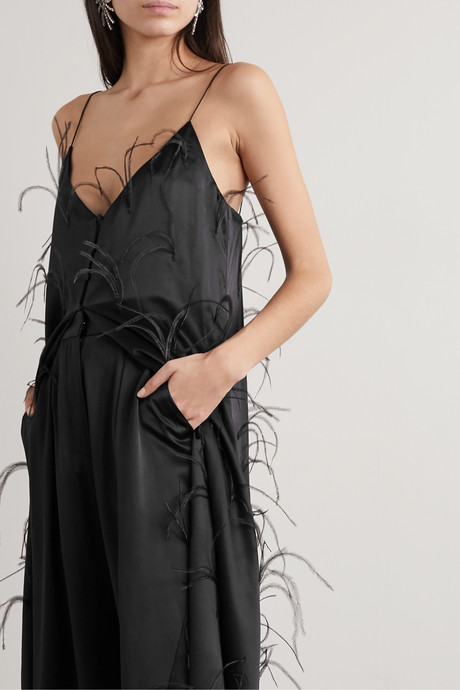 Feather-embellished silk-satin maxi dress