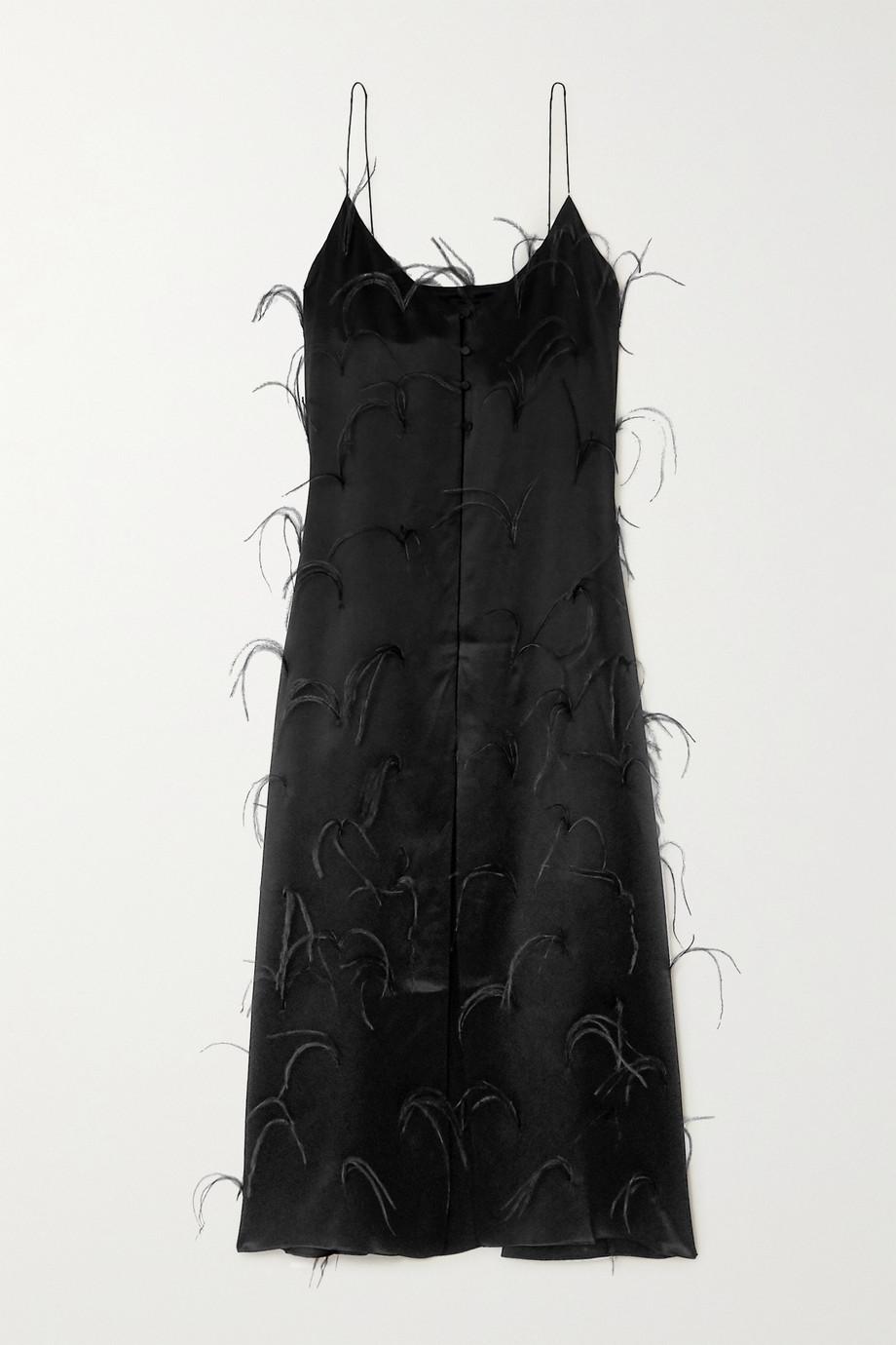 Michael Lo Sordo Feather-embellished silk-satin maxi dress