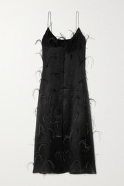Michael Lo Sordo Feather-embellished silk-satin maxi dress