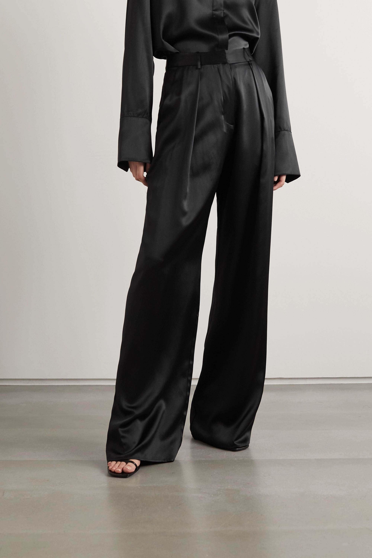 Michael Lo Sordo Pleated silk-satin wide-leg pants