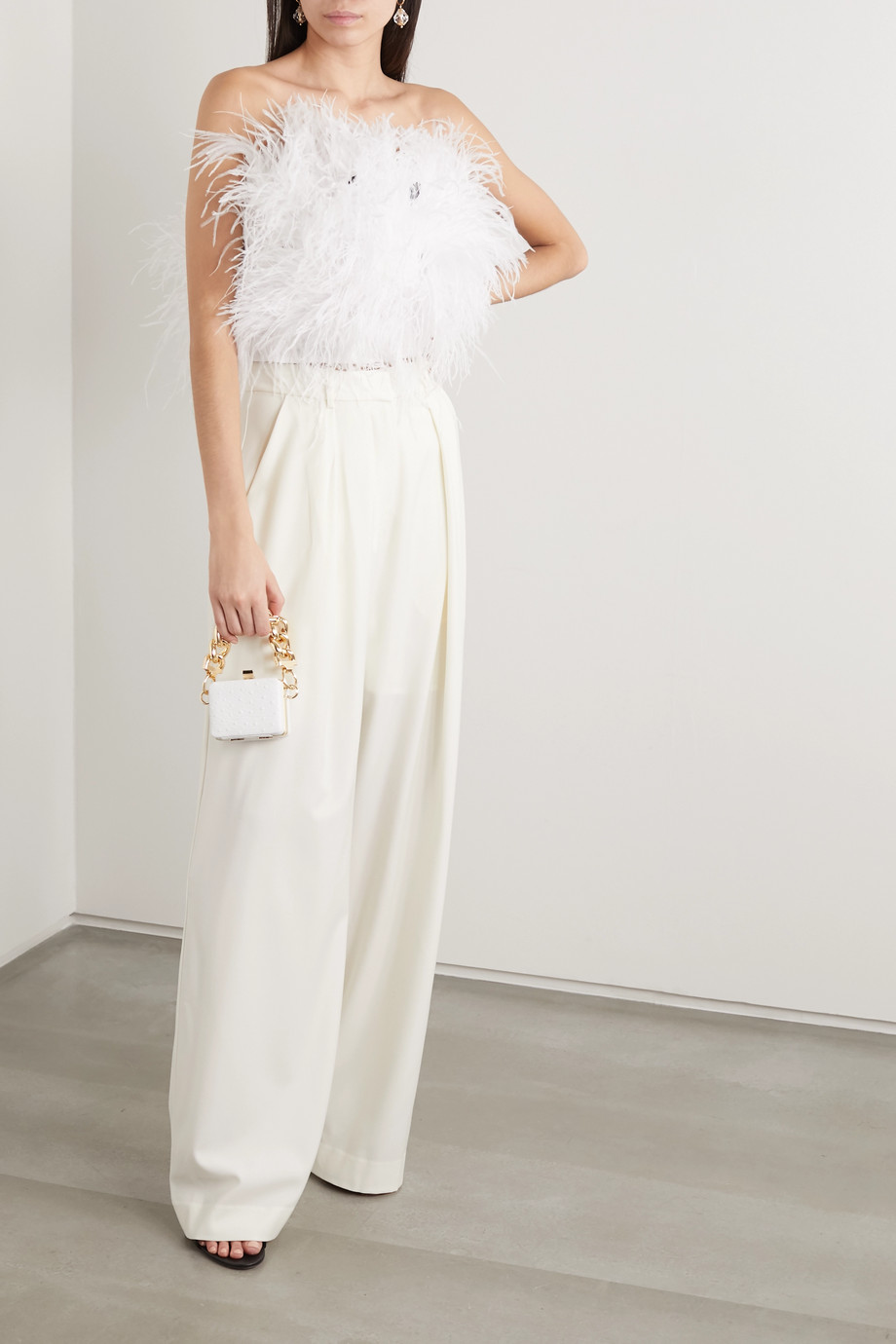Michael Lo Sordo Strapless feather-embellished satin bustier top