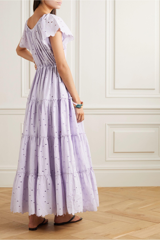 Innika Choo Alotta Güd tiered broderie anglaise cotton maxi dress