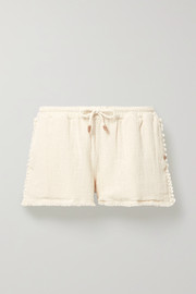 Tunkaan leather-trimmed fringed cotton-gauze shorts