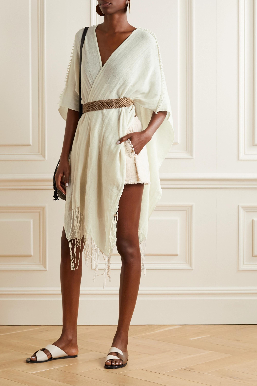 Caravana Tunkaan leather-trimmed fringed cotton-gauze shorts