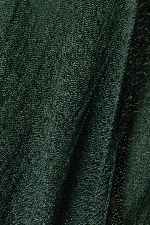 Caravana Lahun 皮革边饰纯棉薄纱围裹式上衣