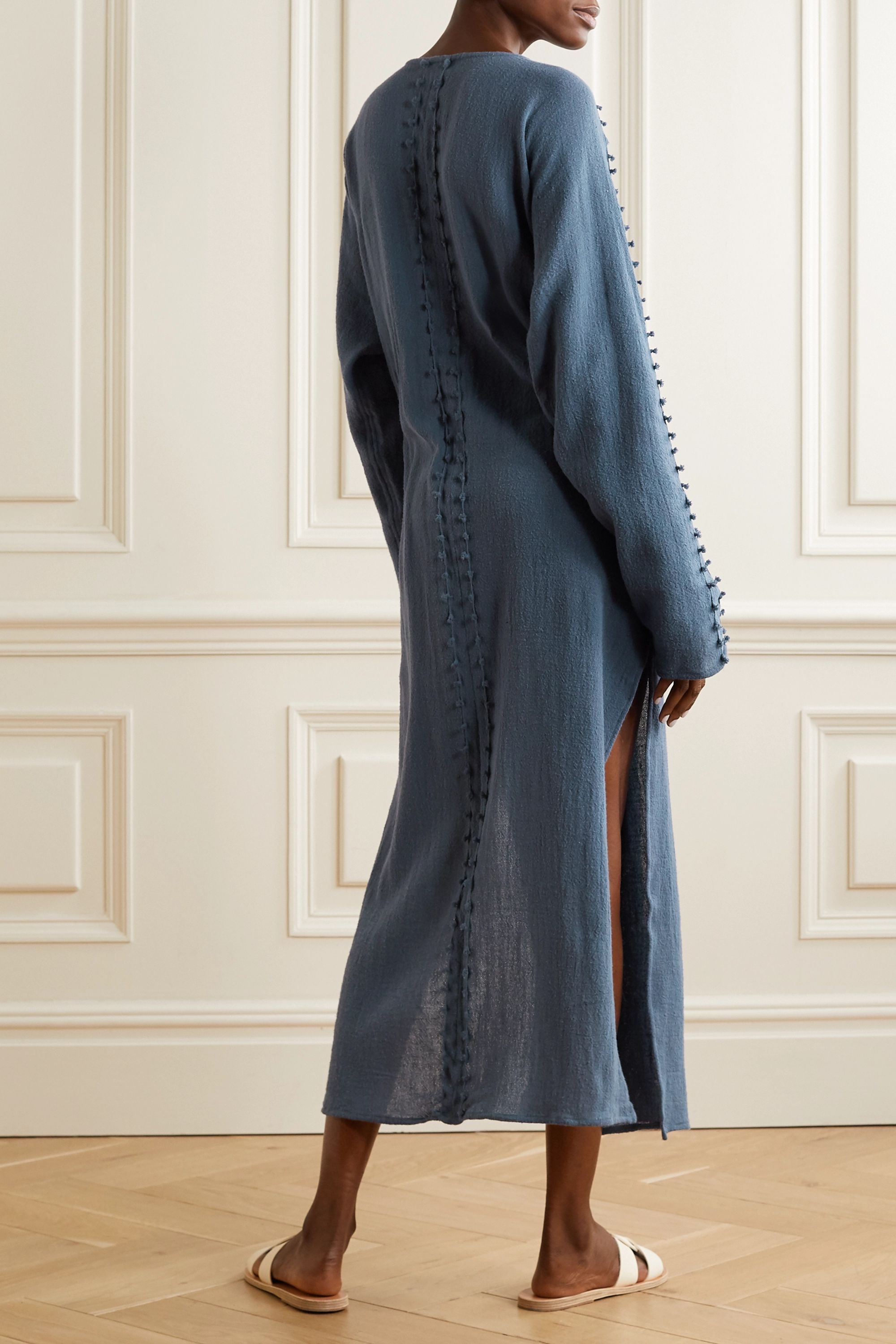 Caravana Kan fringed cotton-gauze robe