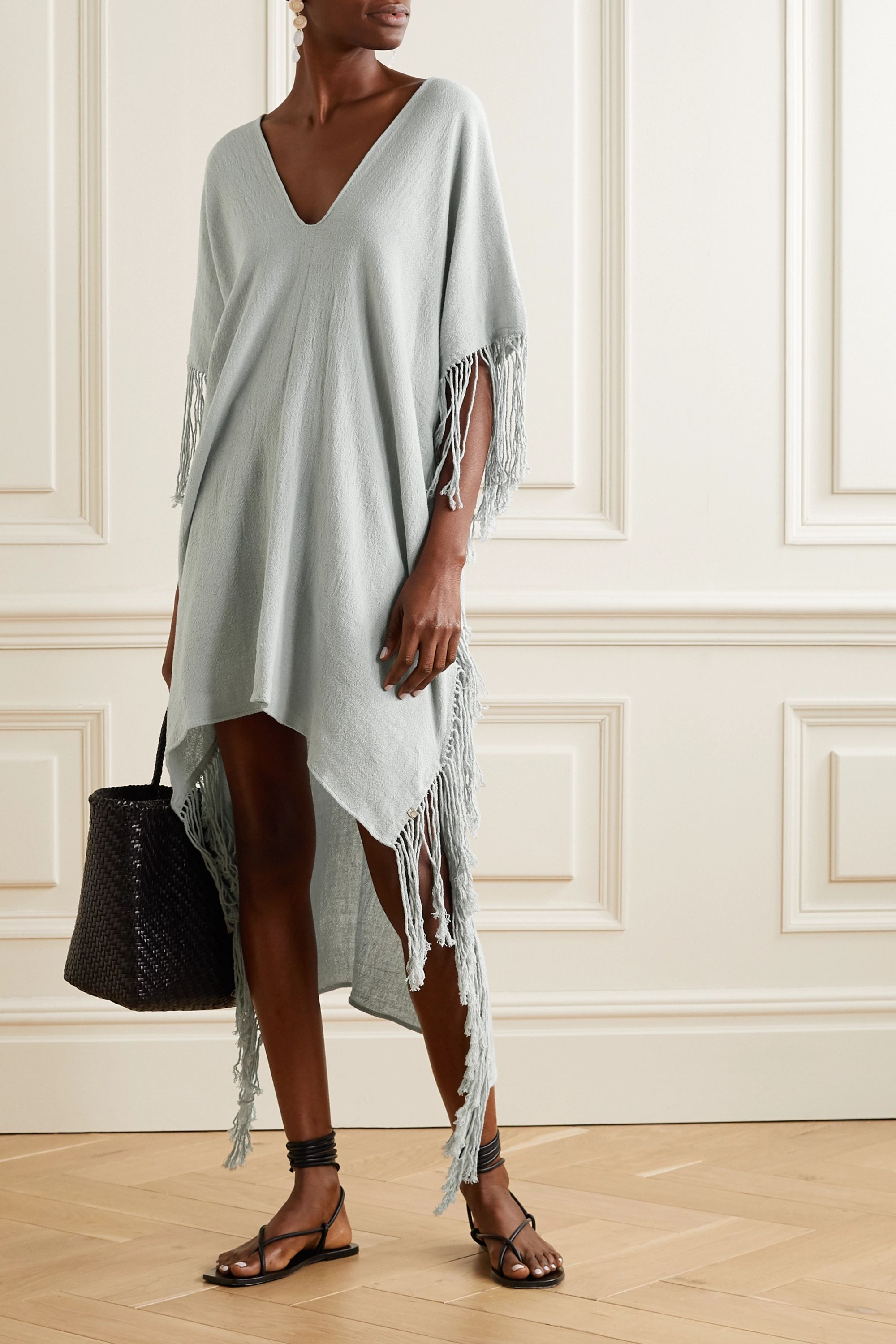 Caravana Butub asymmetric fringed cotton-gauze dress