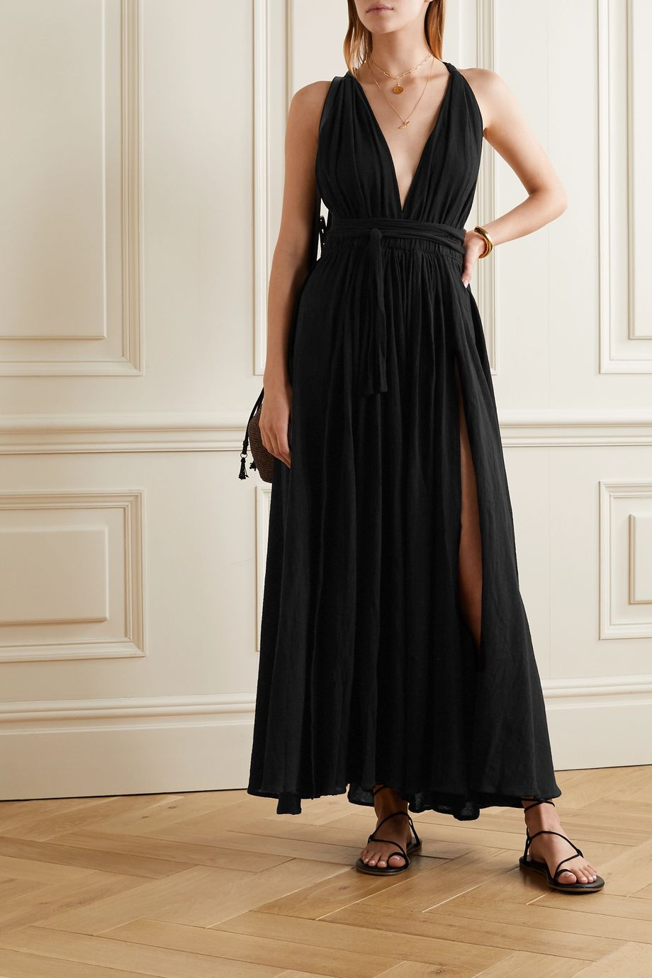Caravana Hera leather-trimmed cotton-gauze halterneck maxi dress