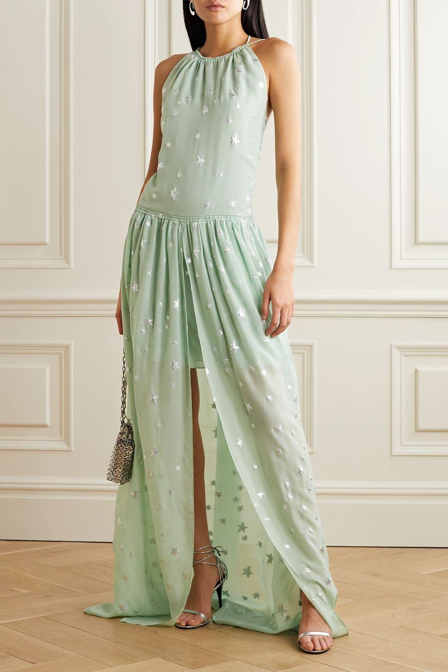 AMIRI Metallic fil coupé silk-blend chiffon halterneck maxi dress