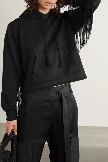 Fringed cotton-terry hoodie